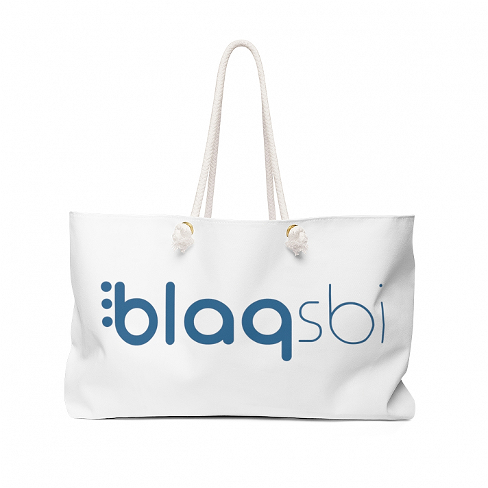 Support Blaqsbi by purchasing this item. The proceeds to this purchase will help us keep the platform running and provide funding for future improvements.Our oversized Weekender Tote is perfect for your weekend at the beach or in town. The wide-mouthed, durable bag holds a generous amount of personal items and is easily held by its thick rope handles..: 100% Spun Polyester.: T-bottom.: Laminated lining