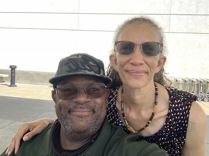 Enjoying time with my wife Feliz
