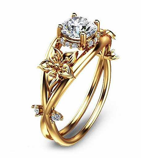 Wedding Crystal gold Color Rings flower Engagement Gold Color Cubic Zircon Ring Fashion New Brand Bijoux For Women Jewelry.JPG