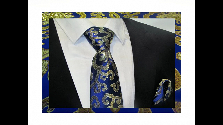Beautiful handcrafted two piece brocade set woven with blue and gold threads.  Sets include a necktie and pocket square or a bowtie and pocket square.  This set is sure to turn heads.
